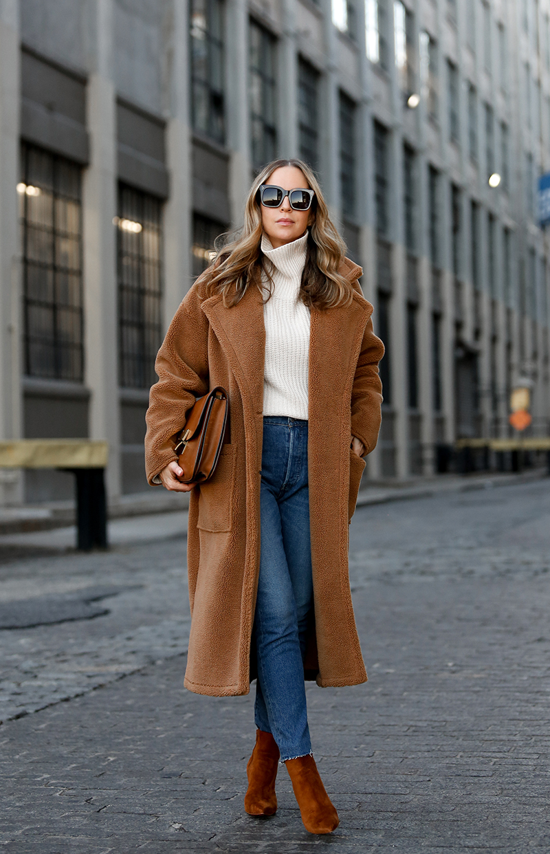 Verishop, Billie the Label Bronte Shearling Trench Coat, Billie the Label Marie Oversized Turtleneck Sweater, Teddy Coat, Helena of Brooklyn Blonde