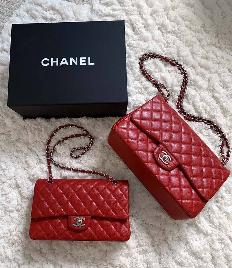 chanel red medium flap