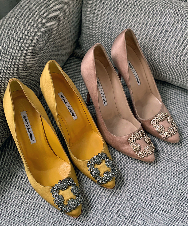 two pairs of manolo blahnik shoes