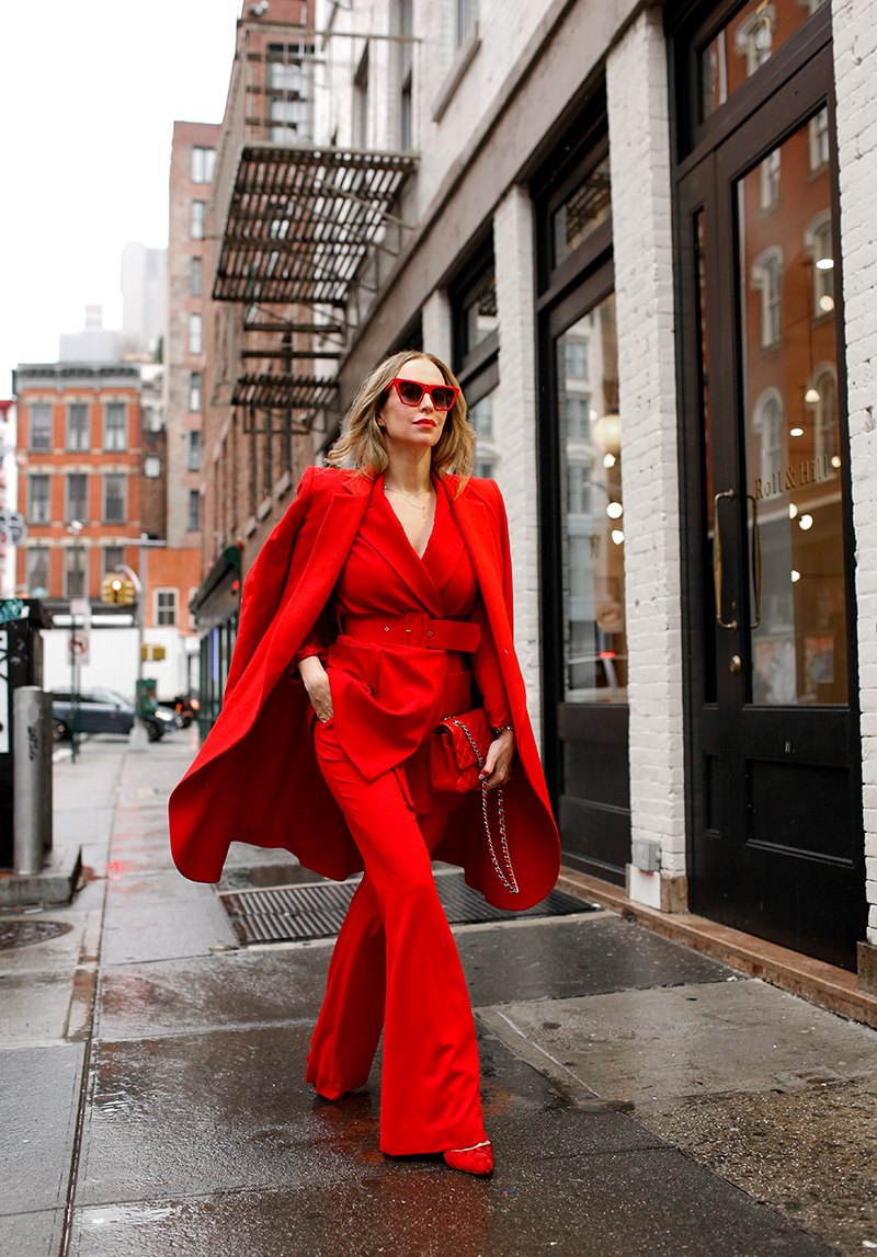 Red Monochromatic Statement Outfit, All Red Outfit, Helena of Brooklyn Blonde