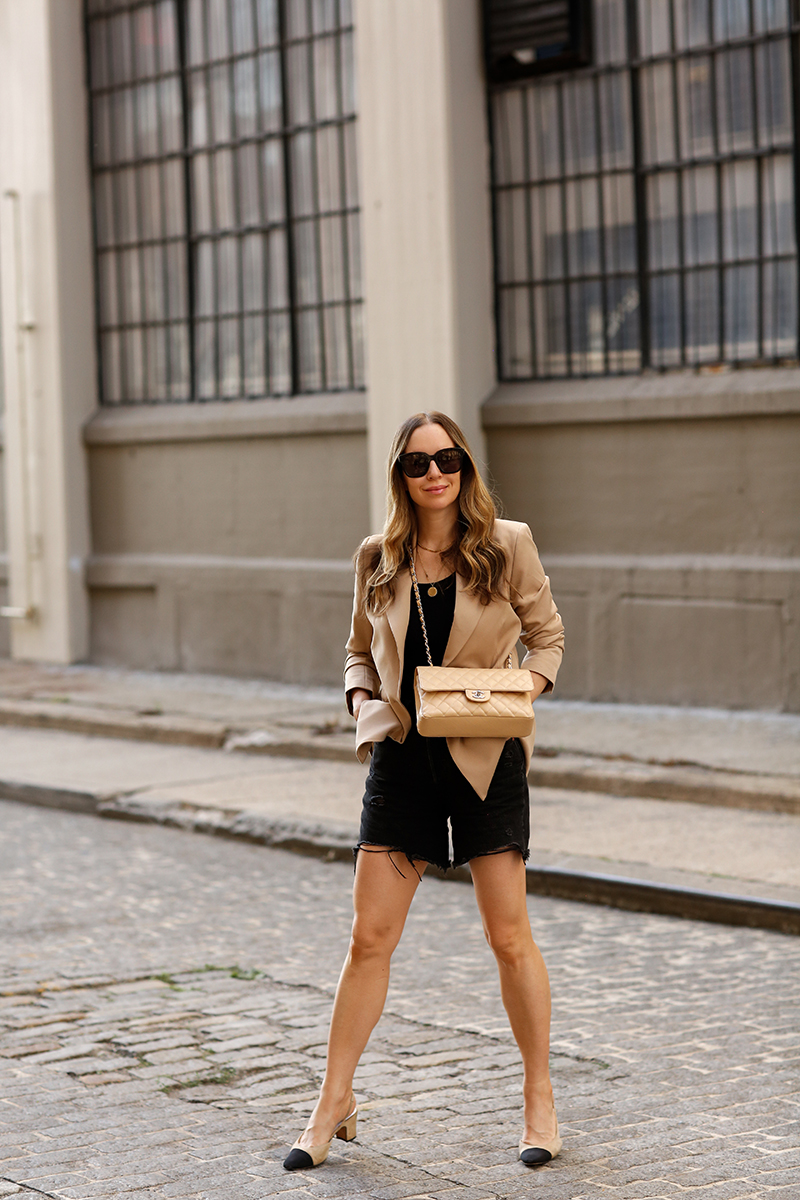 Summer Classics, Billie The Label Frances Double Breasted Camel Blazer, Levi's Premium 501 Mid Thigh Black Denim Shorts, Summer Outfit, Helena of Brooklyn Blonde