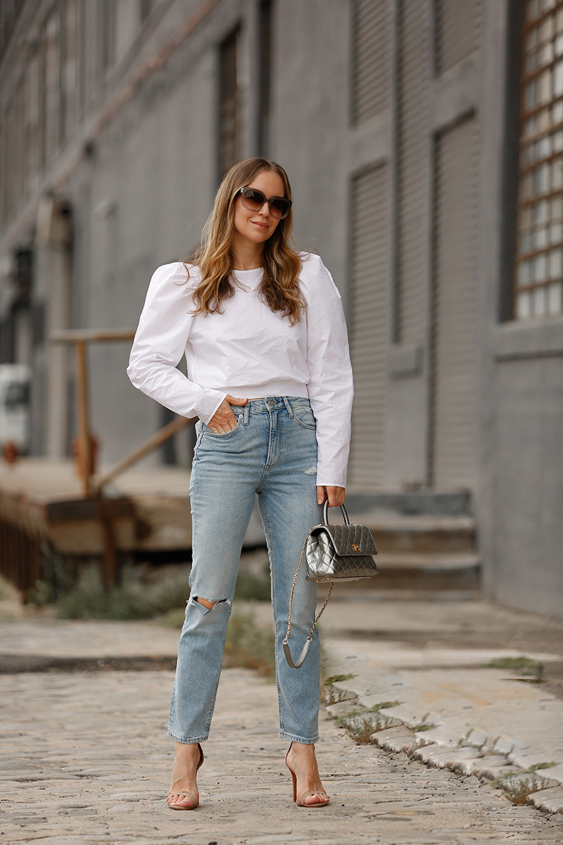 Simple Summer Outfit, H&M Blouse & Jeans, Helena of Brooklyn Blonde