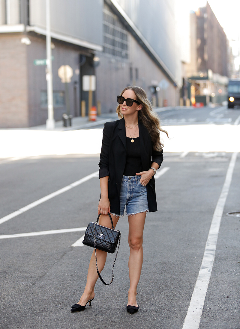 Theory Black Boyfriend Blazer, Summer Blazer & Shorts Outfit, Helena of Brooklyn Blonde