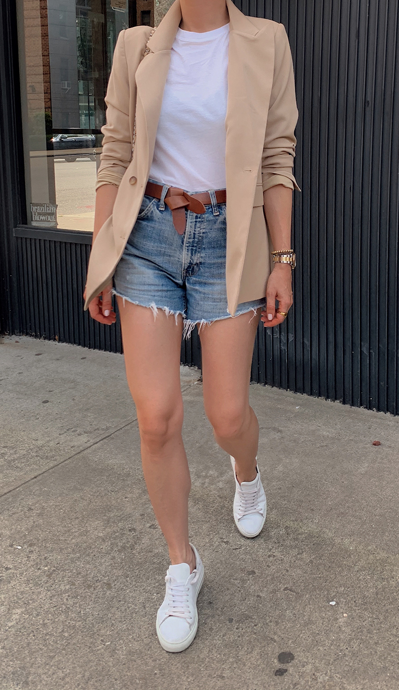Five Outfits Ive Been Wearing Recently Camel Blazer Outfit, Denim Shorts, Summer Street Style, Helena of Brooklyn Blonde