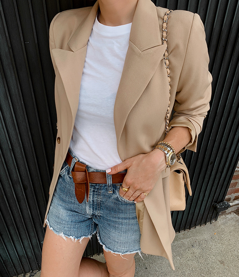 Camel Blazer Outfit, Denim Shorts, Summer Street Style, Helena of Brooklyn Blonde