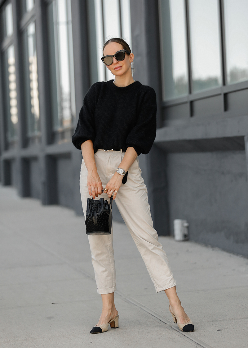 Neutral Fall Style, Black & Beige Outfit, Helena of Brooklyn Blonde