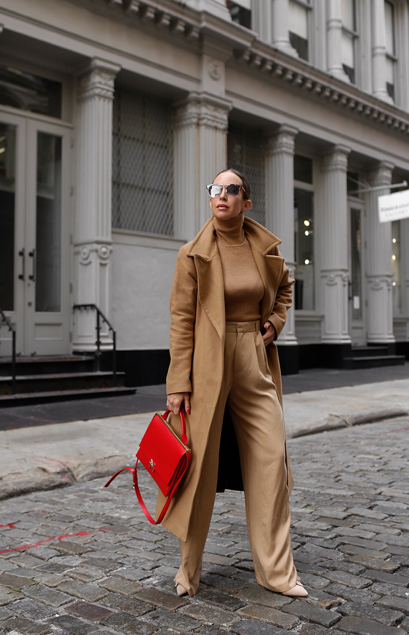 Camel Coat, All Camel Outfit, Fall Neutral Style 2020, Bruno Magli Red Concertina Top-Handle Satchel Handbag, Helena of Brooklyn Blonde