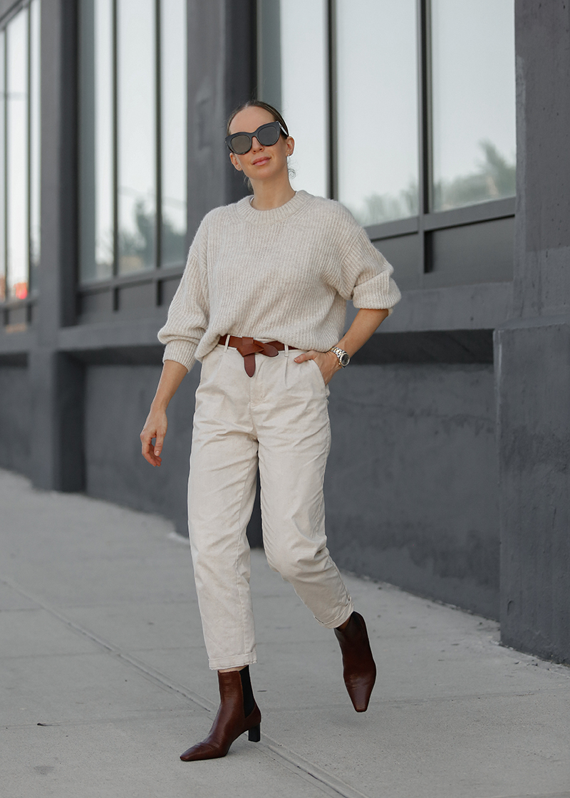 Monochromatic Neutral Outfit, Isabel Marant Lecce Belt, Helena of Brooklyn Blonde