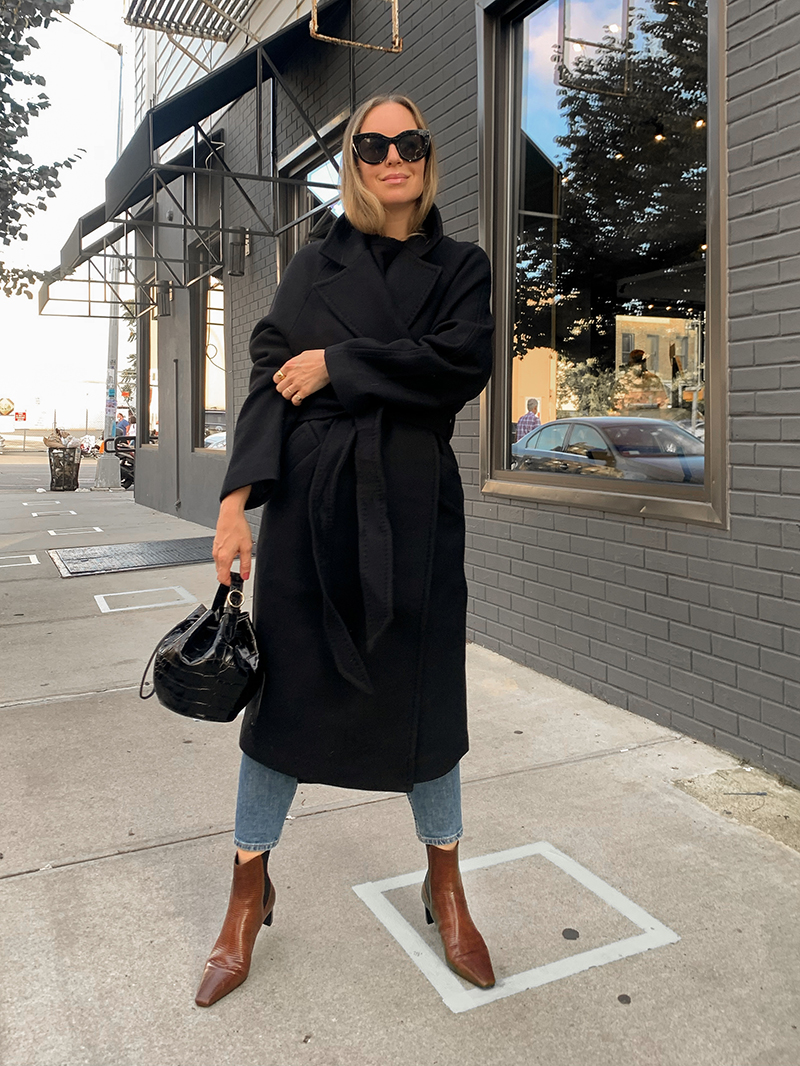 Black Wool Trench Coat, Fall Outfit, Helena of Brooklyn Blonde