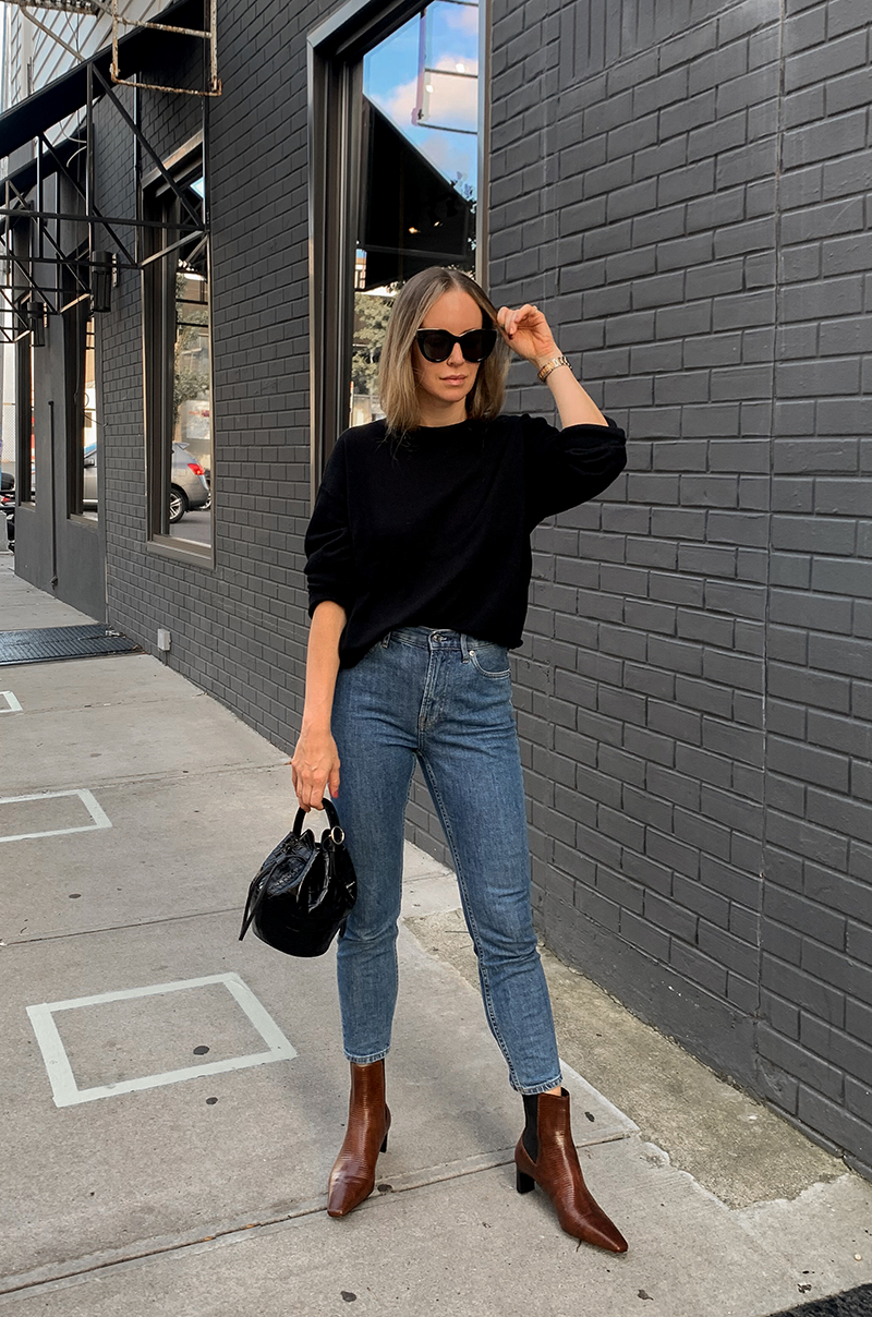Fall Outfit, Black Sweater and Jeans, Helena of Brooklyn Blonde