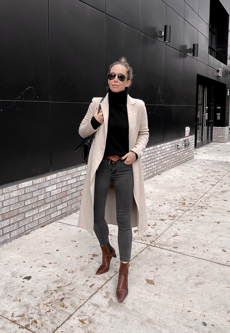 Beige Coat Black Turtleneck Outfit, Fall Style, Helena of Brooklyn Blonde