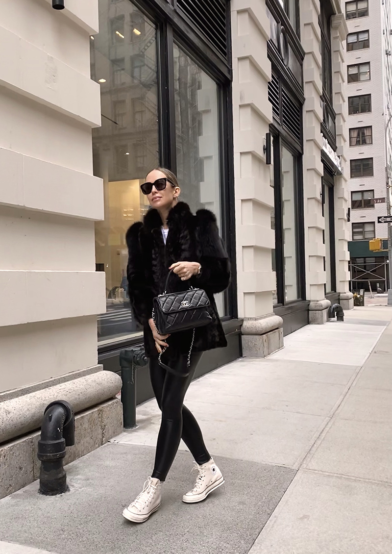 Oversize Faux Fur Coat, Commando Faux Leather Leggings, White Converse High Top Sneakers, Winter Style 2020, Helena of Brooklyn Blonde
