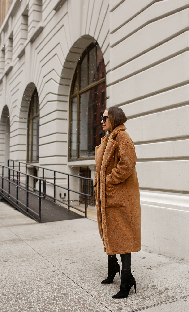 Billie the Label Bronte Faux Shearling Trench Coat, Winter Camel Coat, Helena of Brooklyn Blonde