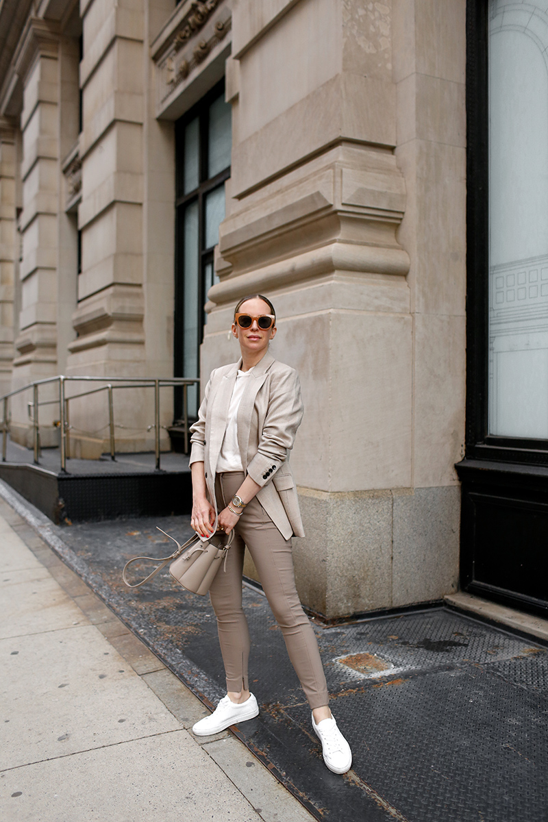 Monochromatic Beige Neutrals, Spring Outfit, M.M. LaFleur O'Hara Blazer, Curie Pant, Leslie T-Shirt, Low-Top Sneakers, Helena of Brooklyn Blonde for High Function High Style