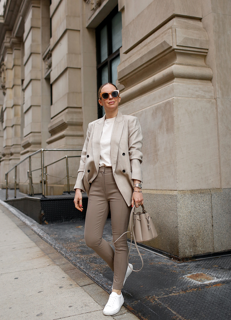 woman in Monochromatic Beige Neutrals, Spring Outfit, M.M. LaFleur O'Hara Blazer, Curie Pant, Leslie T-Shirt, Low-Top Sneakers, Helena of Brooklyn Blonde for High Function High Style