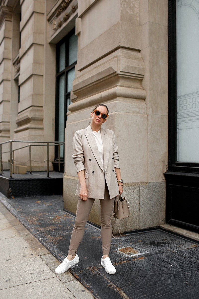 High Function High Style with Monochromatic Beige Neutrals, Spring Outfit, M.M. LaFleur O'Hara Blazer, Curie Pant, Leslie T-Shirt, Low-Top Sneakers, Helena of Brooklyn Blonde