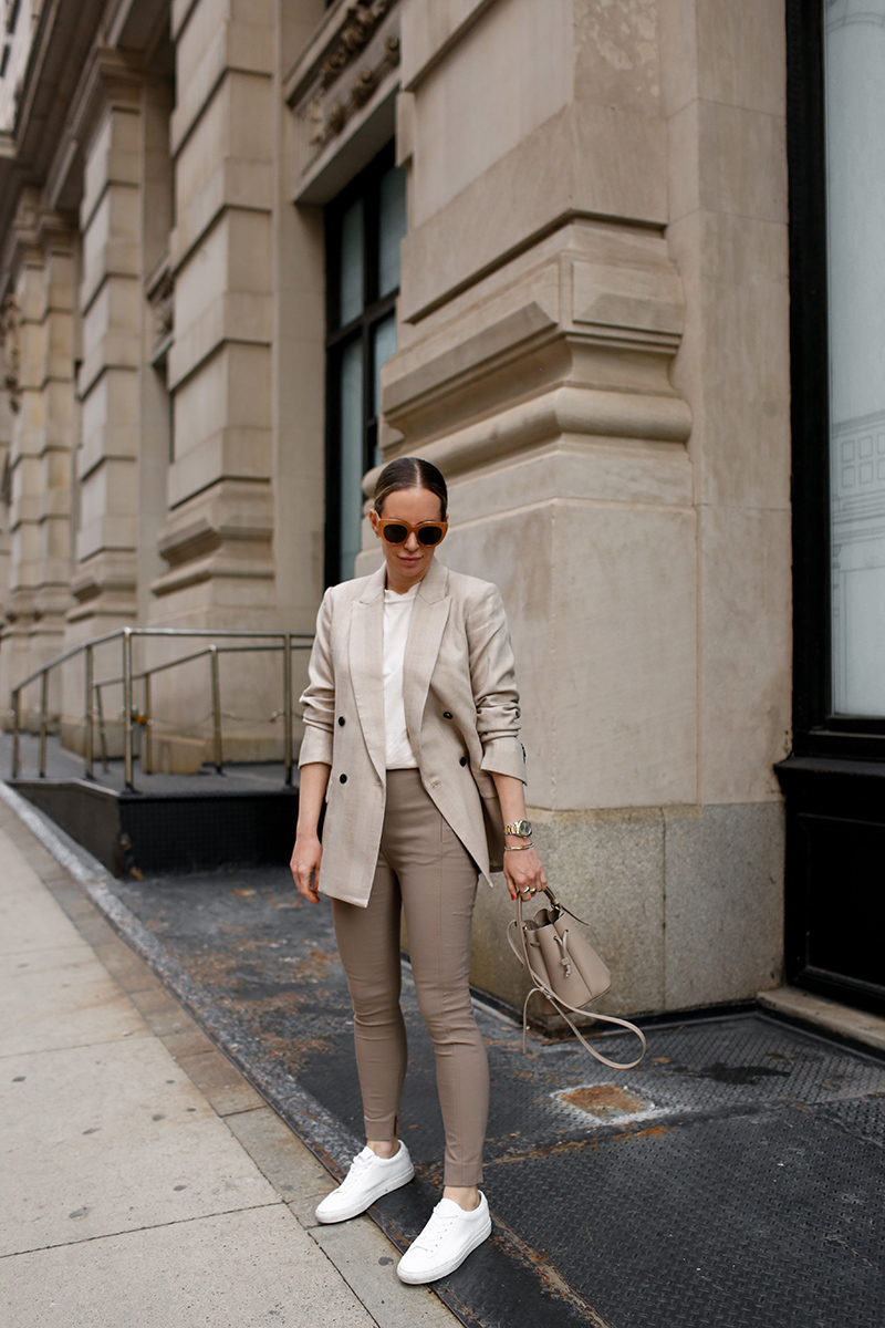 Monochromatic Beige Neutrals, Spring Outfit, M.M. LaFleur O'Hara Blazer, Curie Pant, Leslie T-Shirt, Low-Top Sneakers, Helena of Brooklyn Blonde High Function High Style