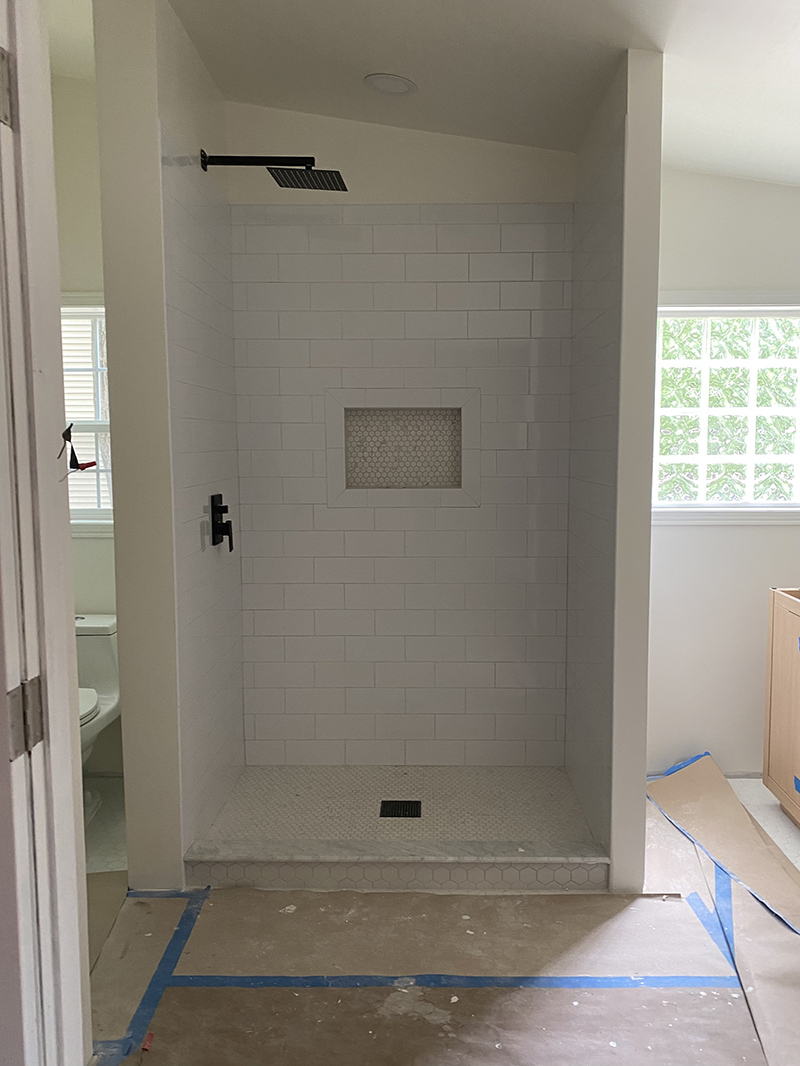 shower construction in a abthroom