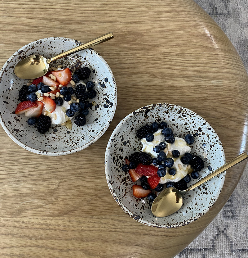 two bowls of fruits and cream for Weekend Notes