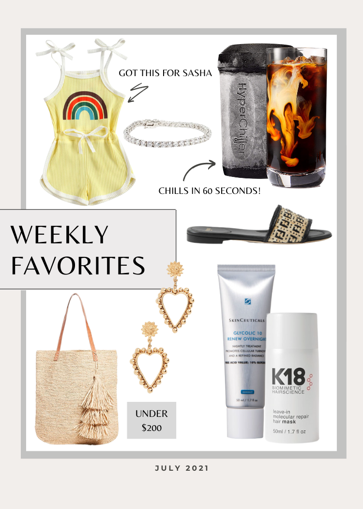 collage of my favorite items for this week clothes and skincare items