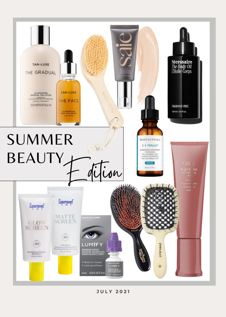 collage of favorites summer beauty edition